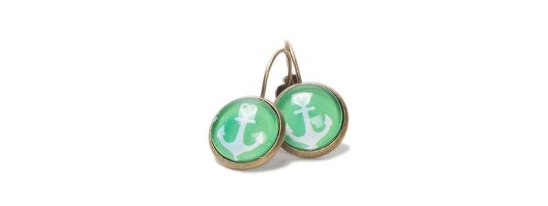 Ohrhänger mit Cabochons Anker Grün