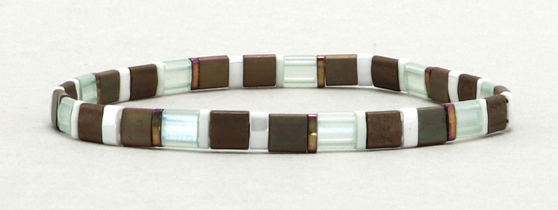 Elastisches Armband mit Tila-Perlen Mix Mixes Nuts