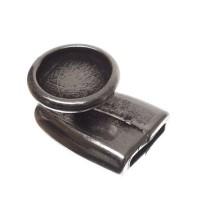 Verschluss, Fassung für Cabochons 12 mm, 21 x 15 mm, versilbert