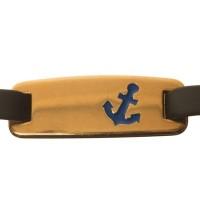 Metallanhänger / Armbandverbinder, Anker, 32 x 12 mm, vergoldet, blau emailliert