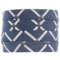 Denim Baumwollband, himmelblau mit silberfarbenem Decor, 10 x1 2 mm, Länge 1 m