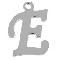 Buchstabe: E, Edelstahlanhänger in Buchstabenform, silberfarben, 13,5 x 10 x 1 mm, Lochdurchmesser: