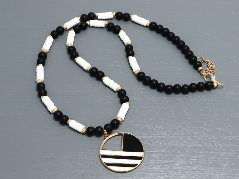 New Geometric - Geometrische Halskette Schwarz-Weiß