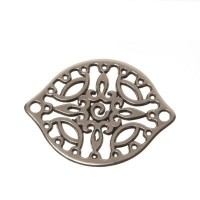 Metallanhänger Boho-Element filigran, 29 x 23 mm, versilbert