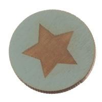Holzcabochon, rund, Durchmesser 20 mm, Motiv Stern, hellblau