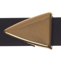 Metallperle Slider / Schiebeperle Dreieck, vergoldet, ca. 17 x 13 mm
