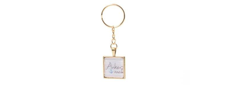 Schlüsselanhänger mit viereckigem Glascabochon Anker Mal