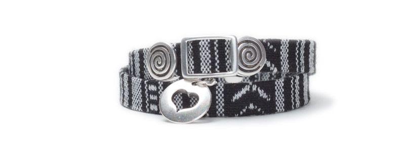 Armband mit Schiebeperlen Herz Silber