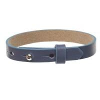 Milano Lederarmband für Sliderperlen, Breite 10 mm, Länge 25 cm, jeansblau