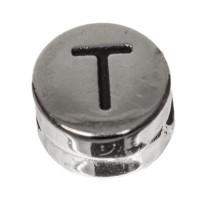 Metallperle, rund, Buchstabe T, Durchmesser 7 mm, versilbert