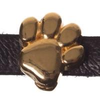 Metallperle Mini-Slider Pfote, vergoldet, ca. 9 x 9 mm, Durchmesser Fädelöffnung:  5,2 x 2,0 m