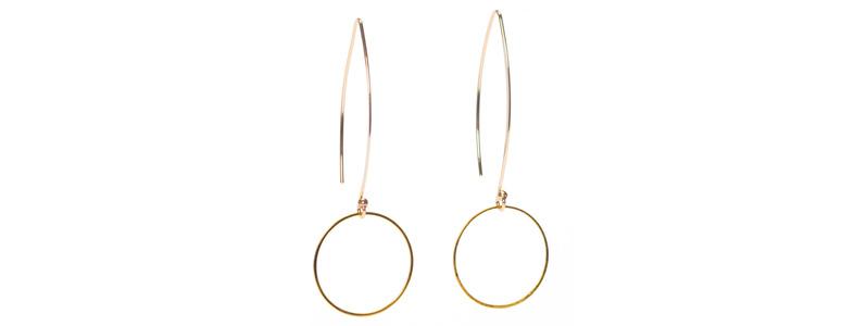 Große Geometrische Ohrhänger Kreis Goldfarben