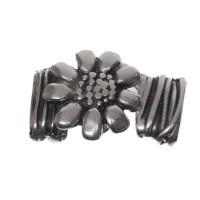 Haken-Verschluss Blume zum Einkleben, Innendurchmesser 2 x 10 mm, versilbert