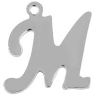 Buchstabe: M, Edelstahlanhänger in Buchstabenform, silberfarben, 14 x 13 x 1 mm, Lochdurchmesser: 1