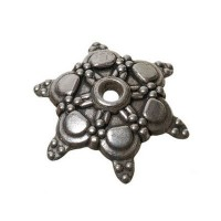 Metallperle Perlkappe Stern, ca. 17 mm, versilbert