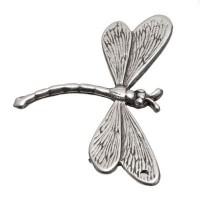Metallperle Libelle, ca. 37 x 49 mm, versilbert