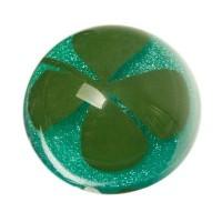 Cabochon mit getrockneter Blume Glücksklee, rund, Durchmesser 12 mm, blau