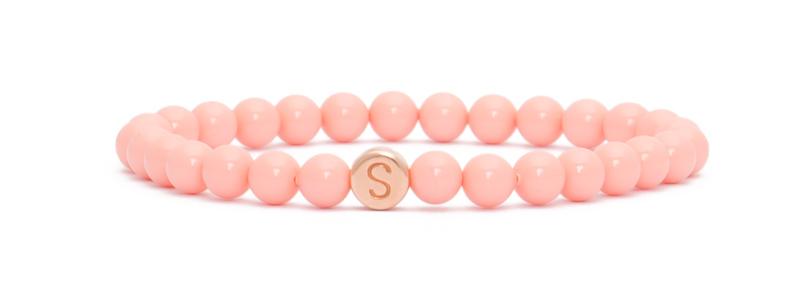 Armband mit rosevergoldeten Buchstabenperlen S