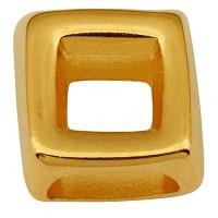 Metallperle für Bänder mit 5 mm Durchmesser, Viereck, 15 x 15 mm, vergoldet