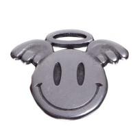 Metallanhänger Smiley Engel, 16 x 19 mm, versilbert