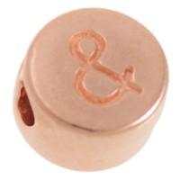 Metallperle, rund, Satzzeichen und, Durchmesser 7 mm, rosevergoldet
