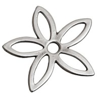Metall-Element Blume, ca. 37 mm, versilbert