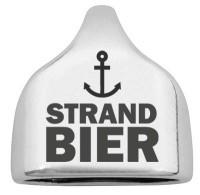 "Endkappe mit Gravur ""Strandbier"", 22,5 x 23 mm, versilbert, geeignet für 10 mm Segelseil"