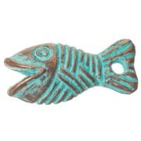 Patina Metallanhänger Fisch, 16 x 8 mm