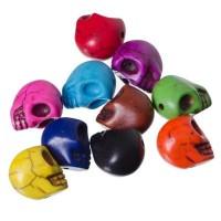 Edelsteinperlen Totenkopf, 10 Stück, multicolor