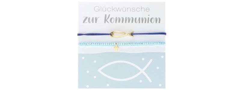 Armbänder zur Kommunion Kreuz und Fisch
