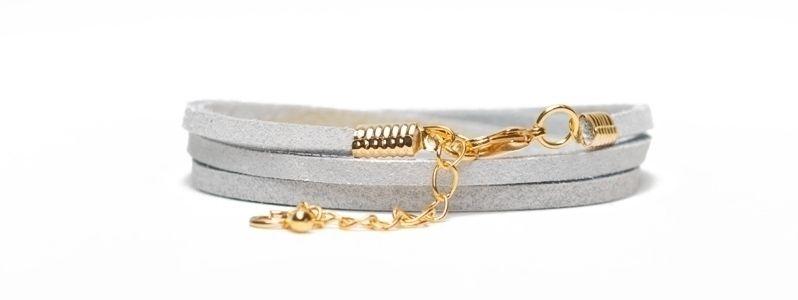 Armband mit Velourlederband Vergoldet