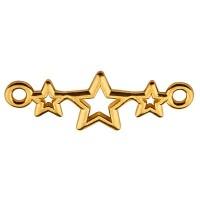 Armbandverbinder 3 Sterne, 19 x 9 mm, vergoldet