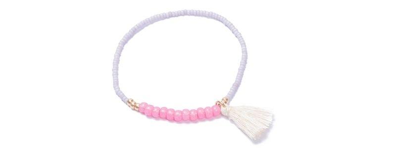 Armband mit Rocailles Mauve-Pink