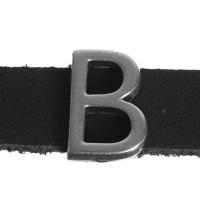 """Metallperle Slider / Schiebeperle Buchstabe """"B"""", versilbert, ca. 9,3 x 13,3  mm"""