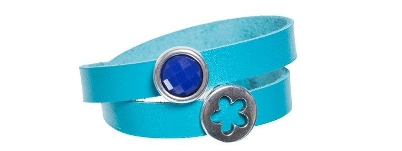 Leder-Armband mit Sliderperlen doppelt Blau