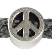 Metallperle Peace für 5 mm Segelseil, 10 x 10 mm, versilbert
