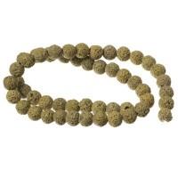 Strang Lavaperlen, rund, 6 mm, olivgrün