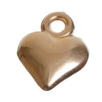 Metallanhänger, Herz, 14 x 11 mm, vergoldet