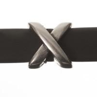 Metallperle Mini-Slider Kreuz, versilbert, ca. 7,5 x 8,0 mm