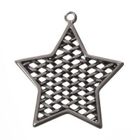 Metallanhänger Stern, 46 x 41 mm, versilbert