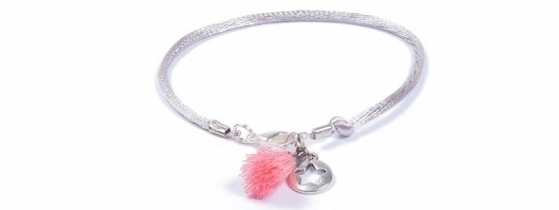 Sommerarmband mit Troddeln Rosa-Grau