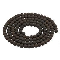 Glasperlen, gefrostet, Kugel, schwarz, Durchmesser 6 mm, Strang mit ca. 140 Perlen