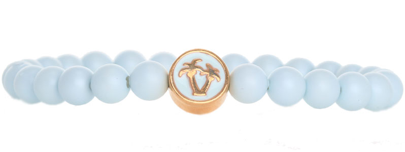 Tropische Armband mit Crystal Pearls Pale Blue Palme