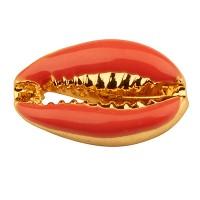 Armbandverbinder emailliert, Muschel, vergoldet, orange, mm
