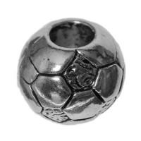 Metallperle Fußball, 11,3  mm, silberfarben