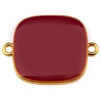 Armbandverbinder Viereck, 19 mm, bordeuax emailliert, vergoldet