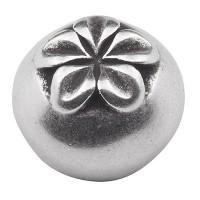 Endkappe ohne Öse für Bänder mit 10 mm Durchmesser, Blumenmuster, versilbert