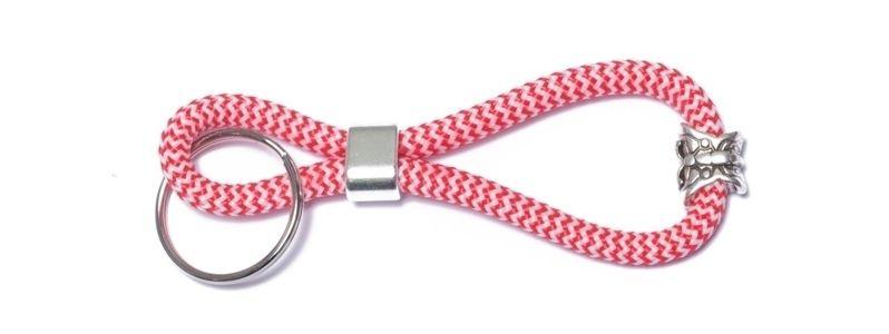 Schlüsselanhänger aus Segelseil Rot-Weiß