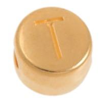 Metallperle, T Buchstabe, rund, Durchmesser 7 mm, vergoldet