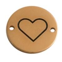 Coin Armbandverbinder Herz, 15 mm, vergoldet, Motiv lasergraviert